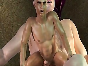 Miniature 3D cartoon hunk taking a hard cock deep in his ass