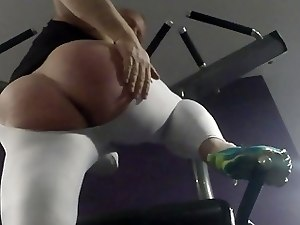 Squats showing my ass hole in lycra chaps at the gym