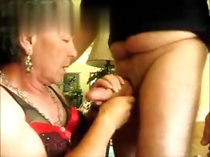 Butchb grandpa mature crossdresser sucking and fucking