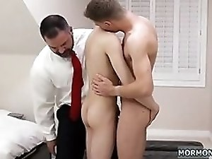 Bud is tempted to take that gigantic cock in his tight ass hole in many poses