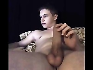 Sweet Young Boy With Fat Big Cock Cums On Cam (UK)