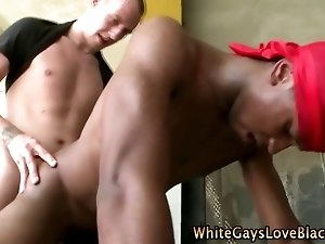 White gay cock cums on black ass