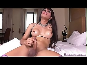 Busty ladyboy wanking his cock until he cums