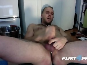Hot Guy Strokes His Cock and Fingers His Ass in the Kitchen