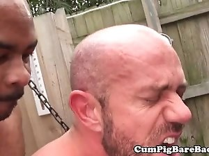 Interacial bear cumdrops while assfucked raw