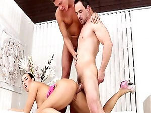 Pussyfucking jock cums while riding cock