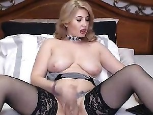 Big Juggs Shemale Loves to Strokes her Cock